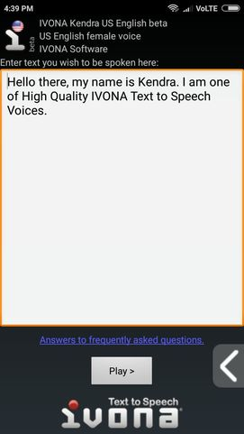 Setting up ivona text to speech engine on android mobile